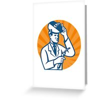 Scientist with Welder and Visor Greeting Card