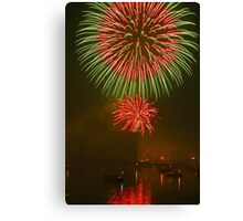 Fireworks with Reflection Canvas Print