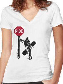 snowboard : directions? Women's Fitted V-Neck T-Shirt