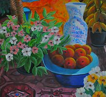 Peaches and Chinese vase by Bellarina74
