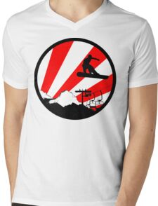 snowboard red rays Mens V-Neck T-Shirt