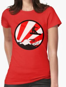 snowboard red rays Womens Fitted T-Shirt