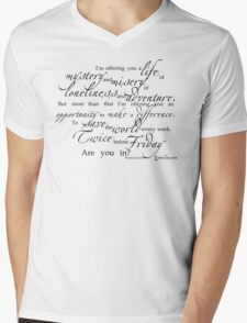 Librarians 'A Life...' Quote black text Mens V-Neck T-Shirt