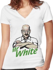 Mr. White Women's Fitted V-Neck T-Shirt