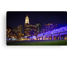 Christopher Columbus Park, Boston, Night Canvas Print