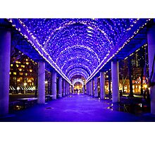 Blue light tunnel, Christopher Columbus Park Photographic Print
