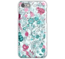 doodle flowers and butterflies iPhone Case/Skin