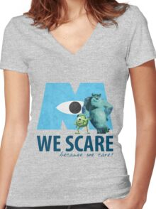 We Scare Because We Care! w/ Sulley and Mike Women's Fitted V-Neck T-Shirt