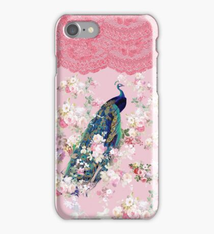 Pink vintage floral elegant lace colorful peacock  iPhone Case/Skin