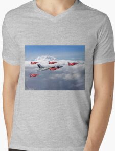 Final Vulcan Flight With The Red Arrows  - 3 Mens V-Neck T-Shirt