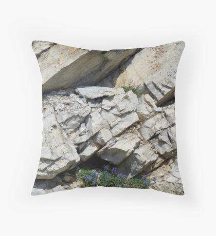 BLUE BOUQUET ON THE ROCKS - ROADSIDE GLACIER NATIONAL PARK Throw Pillow