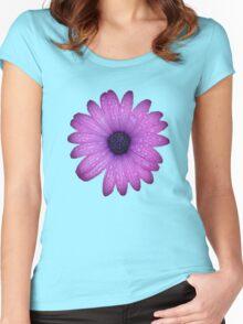 Purple African Daisy with Raindrops Isolated Women's Fitted Scoop T-Shirt
