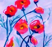 Poppies blowing in a cool  breeze. watercolor by Anna  Lewis