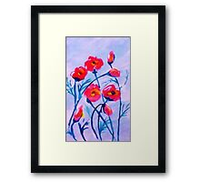 Poppies blowing in a cool  breeze. watercolor Framed Print