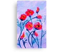 Poppies blowing in a cool  breeze. watercolor Canvas Print