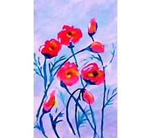 Poppies blowing in a cool  breeze. watercolor Photographic Print