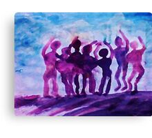 Cheering on the team, watercolor Canvas Print