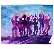 Cheering on the team, watercolor Poster