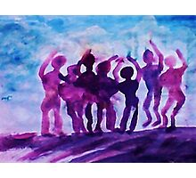 Cheering on the team, watercolor Photographic Print