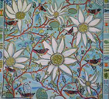 Flannel Flowers and Spotted Pardalotes by Lizzy Newcomb