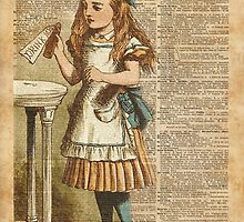 Alice in Wonderland Drink Me Vintage Dictionary Art Illustration by DictionaryArt