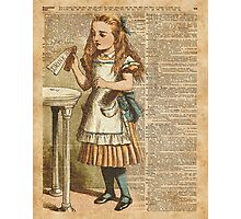 "Alice in The Wonderland ""Drink Me"" Colour Vintage Illustration Dictionary Art  Photographic Print"