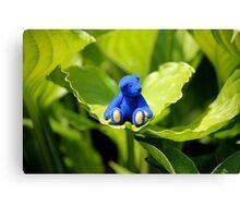 Blue Bear, Green Leaf Canvas Print