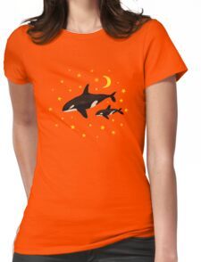 Whales at night Womens Fitted T-Shirt