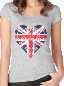 Union Jack Sherlock Wallpaper Heart Women's Fitted Scoop T-Shirt