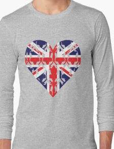 Union Jack Sherlock Wallpaper Heart Long Sleeve T-Shirt