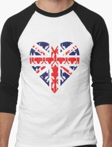 Union Jack Sherlock Wallpaper Heart Men's Baseball ¾ T-Shirt