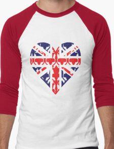 Union Jack Sherlock Wallpaper Heart Men's Baseball ¾ T-Shirt