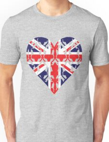Union Jack Sherlock Wallpaper Heart Unisex T-Shirt