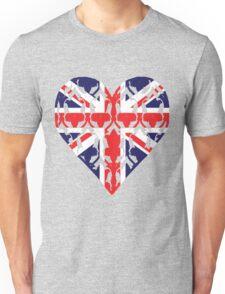 Union Jack Sherlock Wallpaper Heart Unisex T-Shirt