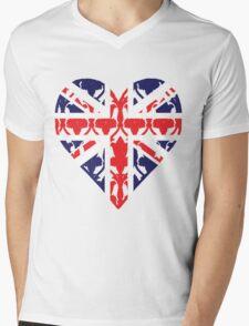 Union Jack Sherlock Wallpaper Heart Mens V-Neck T-Shirt