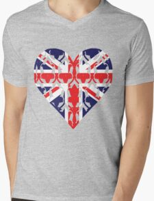 Union Jack Sherlock Wallpaper Heart Mens V-Neck T-Shirt