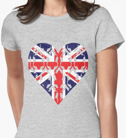 Union Jack Sherlock Wallpaper Heart Womens Fitted T-Shirt