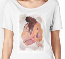 Intimate Couple Hugging and Staying In Touch  Women's Relaxed Fit T-Shirt