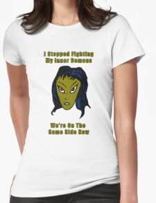 Evil Green Alien Woman - Same Side Now Womens Fitted T-Shirt