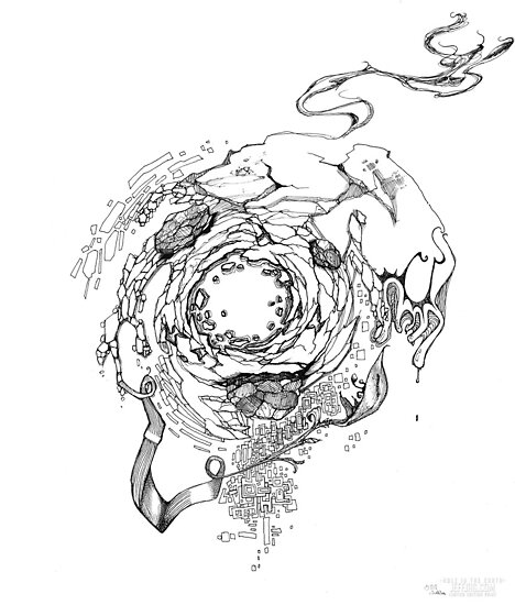 Hole in the Earth - Sketch Pen & Ink Illustration by jeffjag