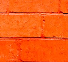 Red background of bricks with a layer of paint close-up Sticker