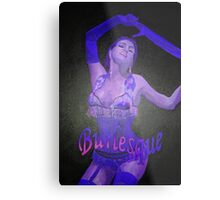 Female Strip Tease Artist Performing Blue Burlesque Metal Print
