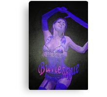 Female Strip Tease Artist Performing Blue Burlesque Canvas Print