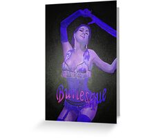 Female Strip Tease Artist Performing Blue Burlesque Greeting Card