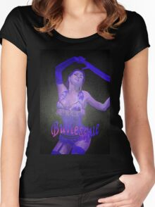 Female Strip Tease Artist Performing Blue Burlesque Women's Fitted Scoop T-Shirt