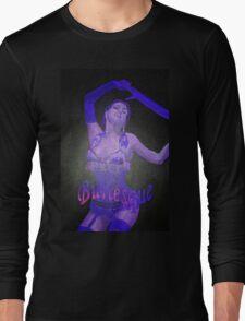 Female Strip Tease Artist Performing Blue Burlesque Long Sleeve T-Shirt