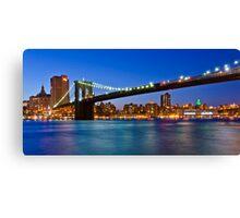 New York Brooklyn Bridge at Night Canvas Print
