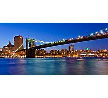 New York Brooklyn Bridge at Night Photographic Print