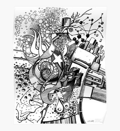 Arbitrary Milestones - Sketch Pen & Ink Illustration Poster