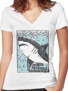 BJJ Shark Women's Fitted V-Neck T-Shirt